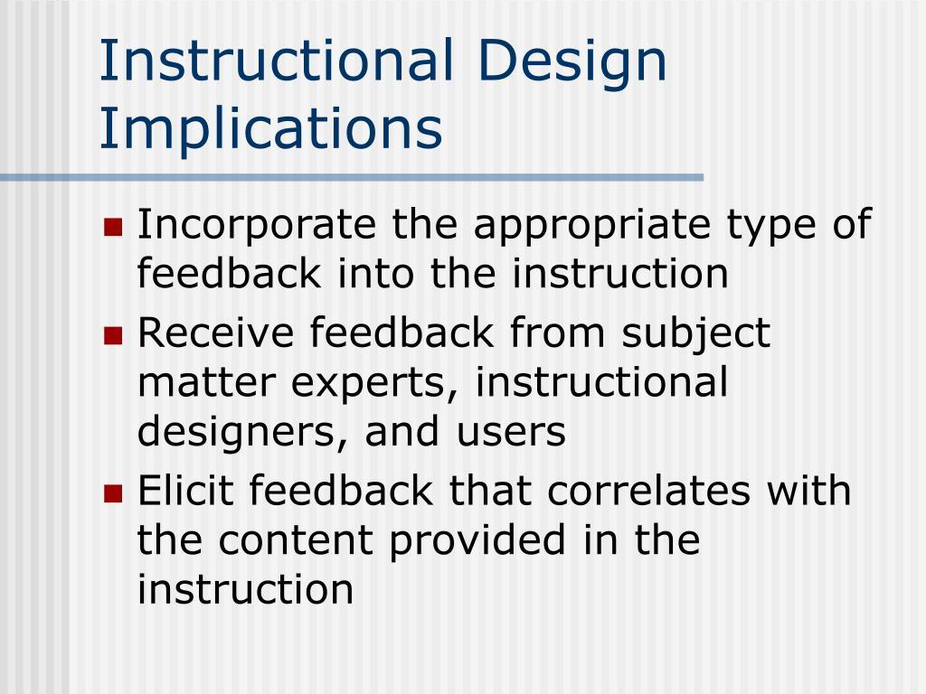 Instructional Design Implications