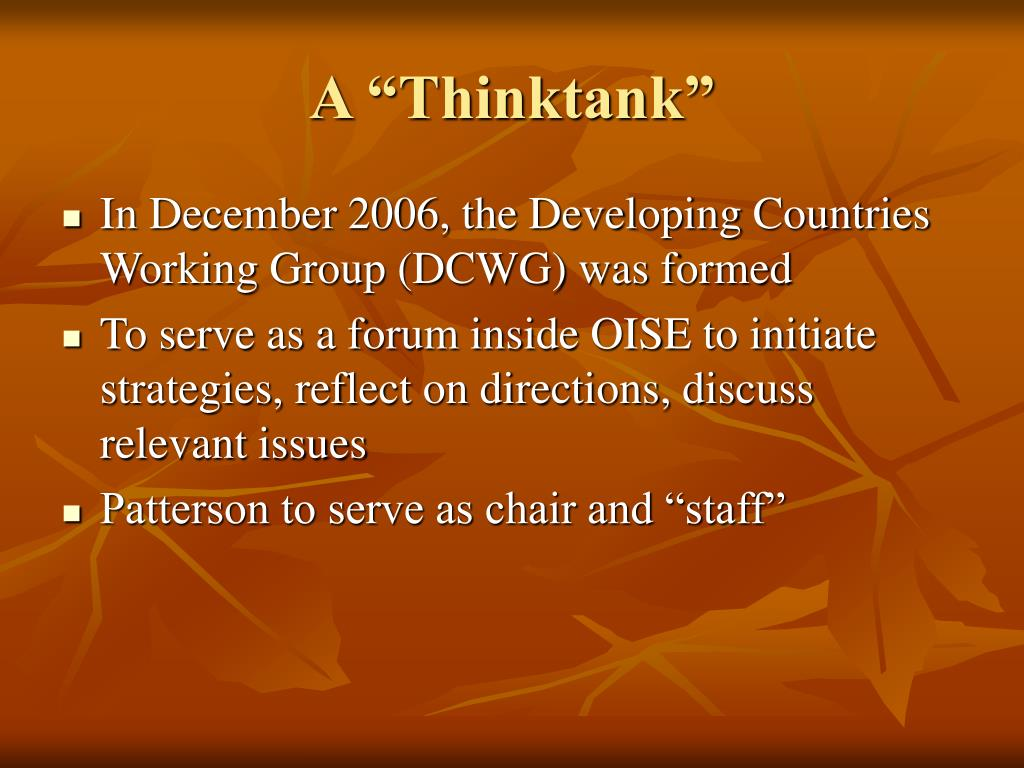 "A ""Thinktank"""