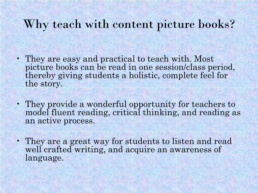 Why teach with content picture books?
