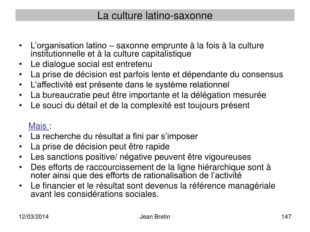 La culture latino-saxonne