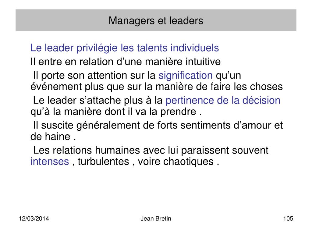 Managers et leaders