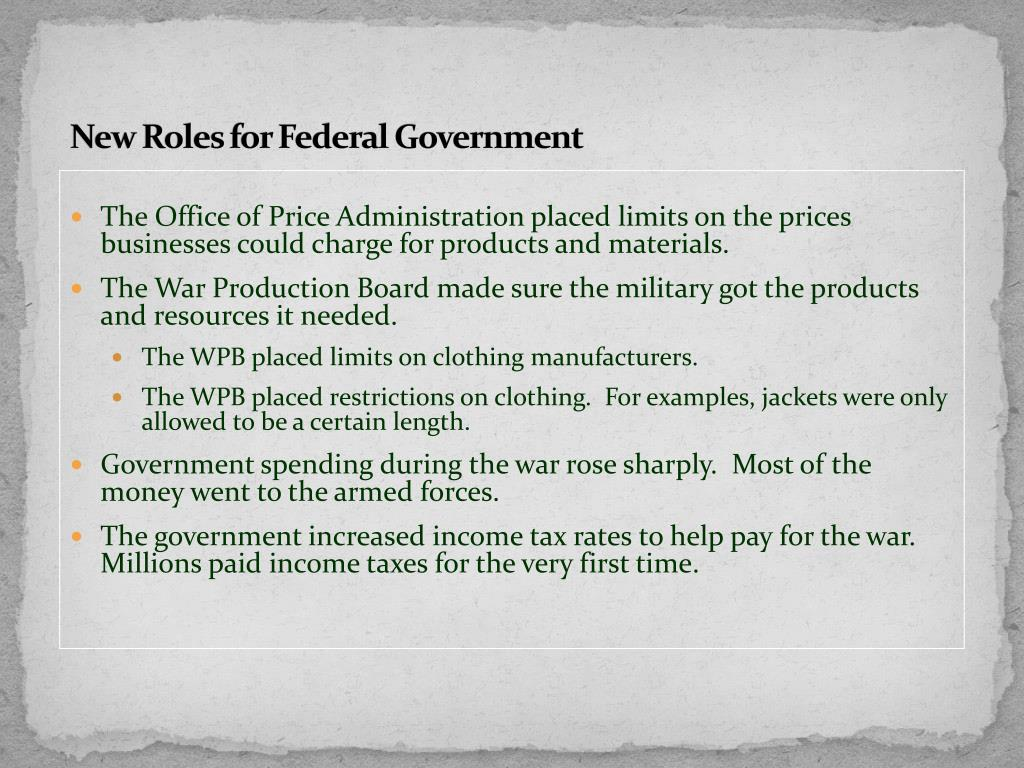 New Roles for Federal Government