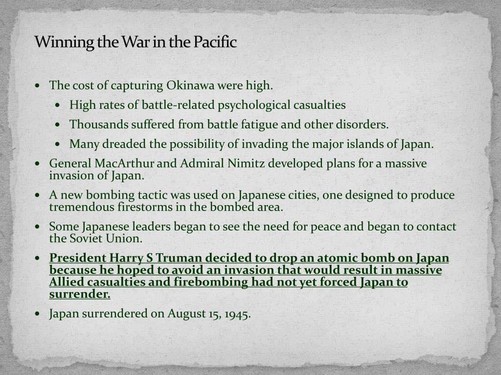 Winning the War in the Pacific