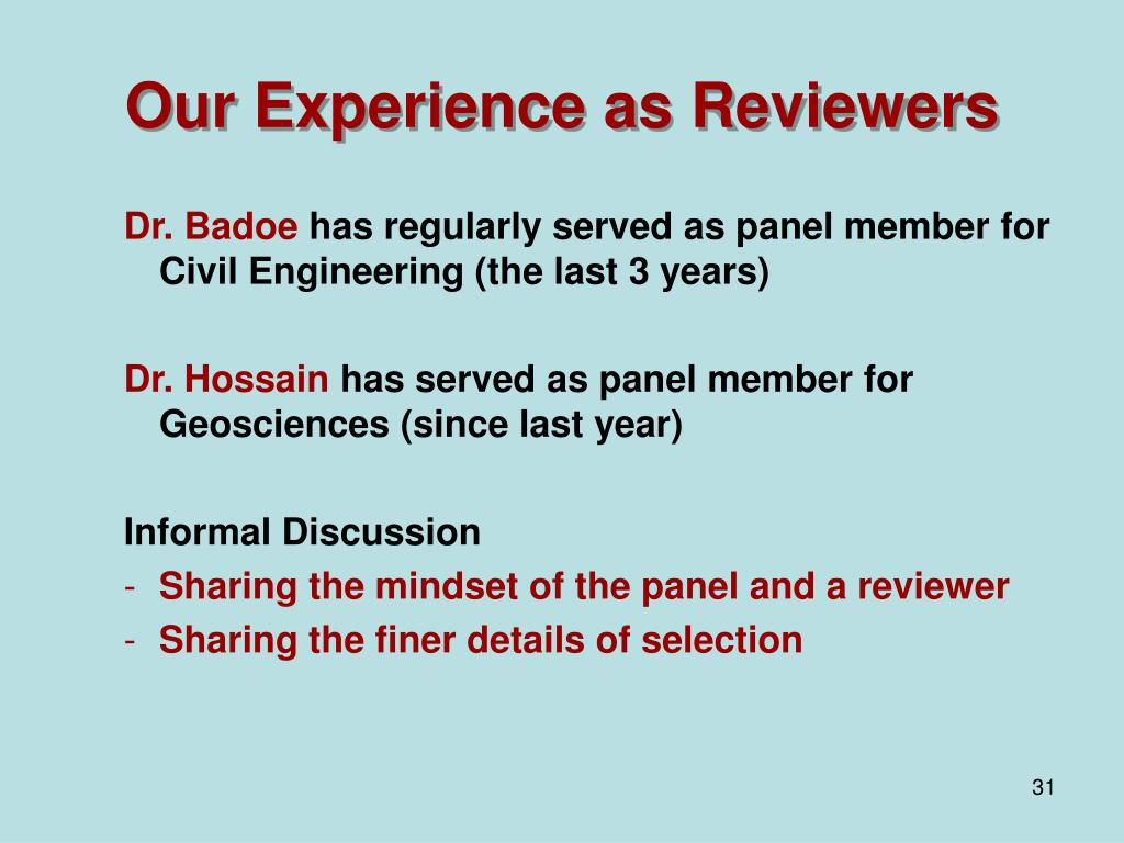 Our Experience as Reviewers