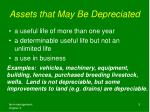 assets that may be depreciated