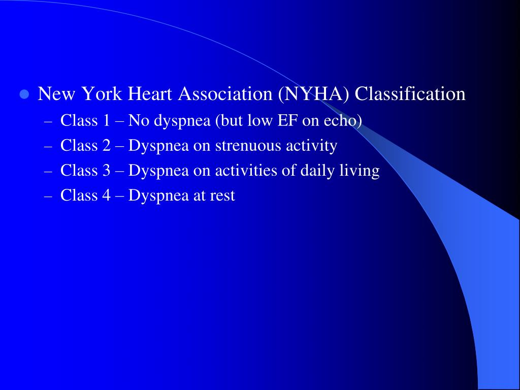 New York Heart Association (NYHA) Classification