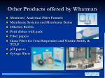 other products offered by whatman