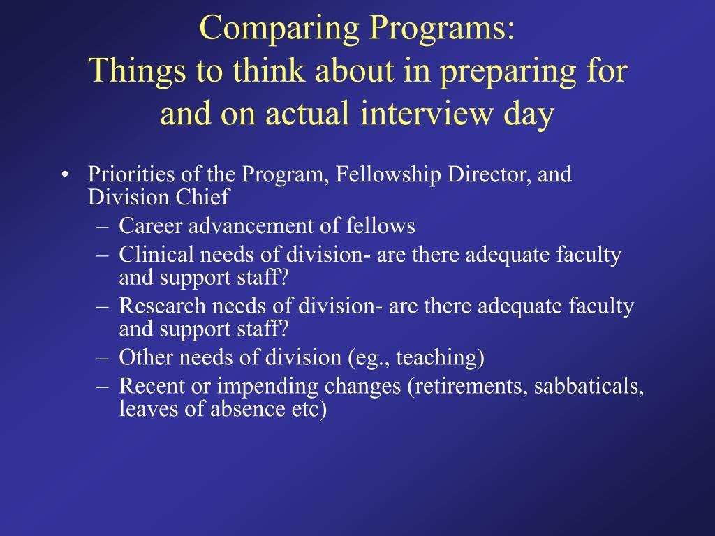 Comparing Programs: