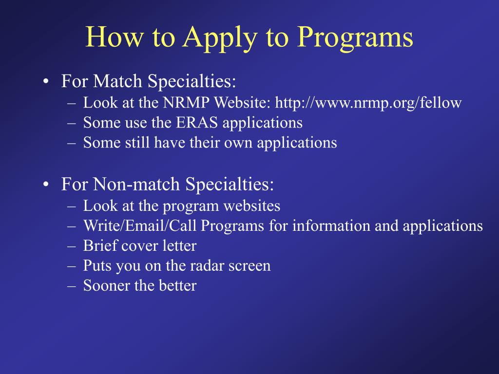 How to Apply to Programs