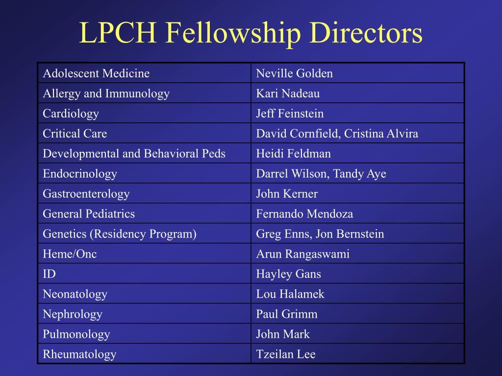 LPCH Fellowship Directors