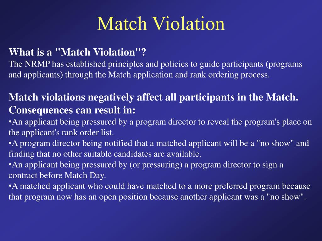 Match Violation