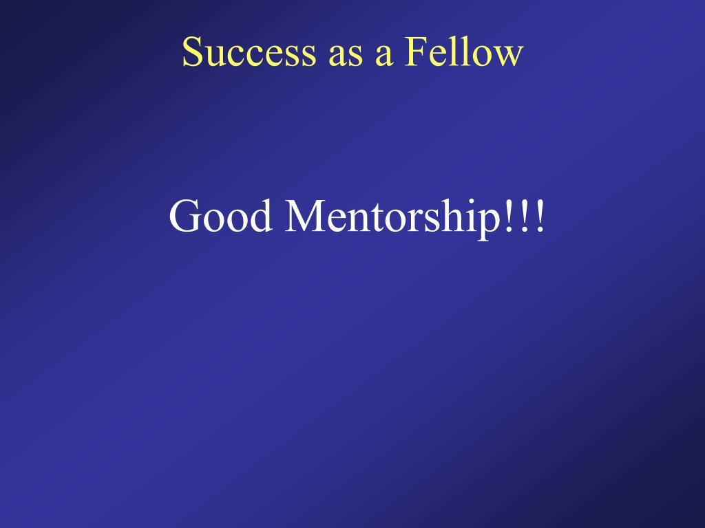 Success as a Fellow