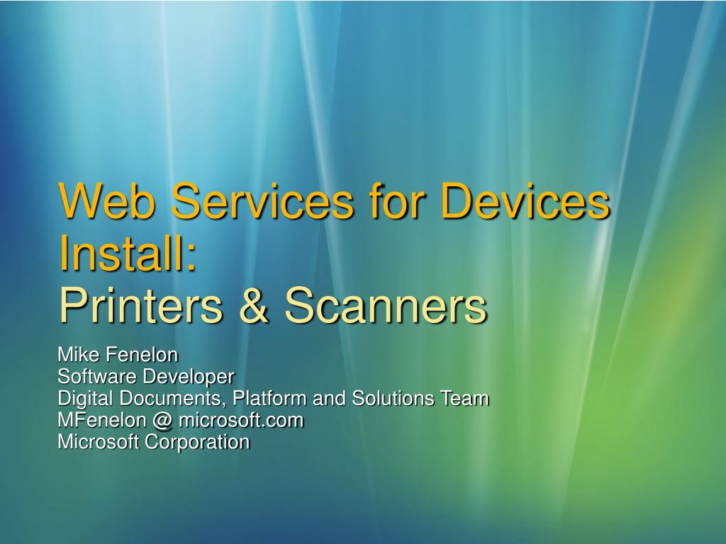 web services for devices install printers scanners l.