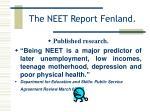 the neet report fenland4