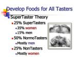 develop foods for all tasters