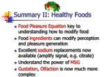 summary ii healthy foods