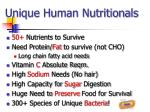 unique human nutritionals