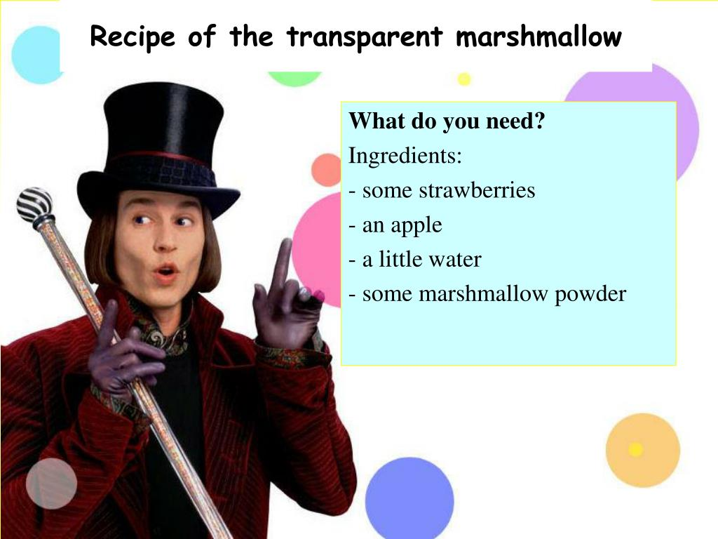 Recipe of the transparent marshmallow