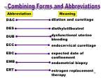 combining forms abbreviations d c
