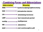 combining forms abbreviations hso