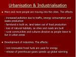 urbanisation industrialisation