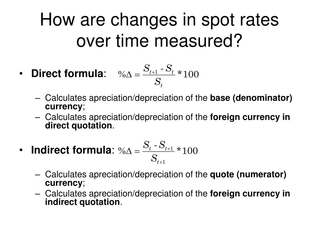 How are changes in spot rates