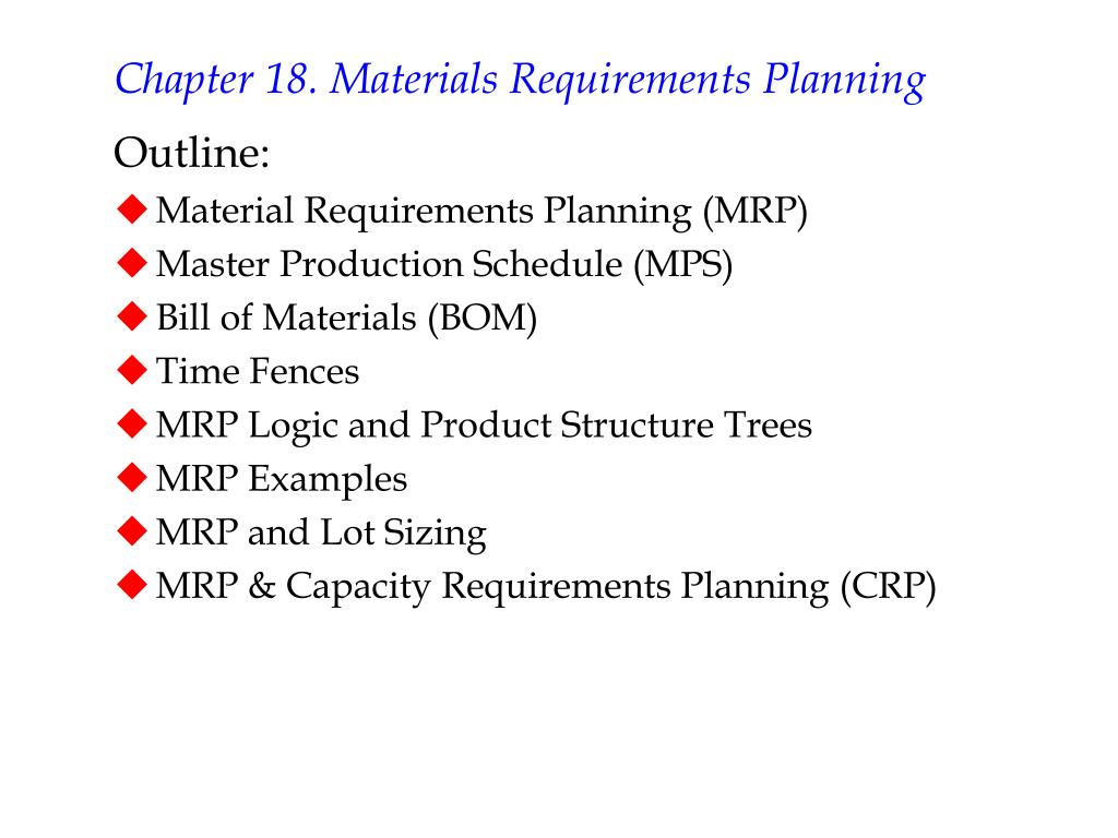 chapter 18 materials requirements planning l.