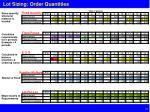 lot sizing order quantities