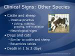 clinical signs other species