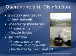 quarantine and disinfection