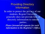 providing directory information