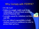 why comply with ferpa
