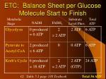 etc balance sheet per glucose molecule start to finish