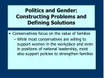 politics and gender constructing problems and defining solutions