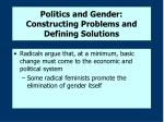 politics and gender constructing problems and defining solutions30