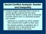 social conflict analysis gender and inequality