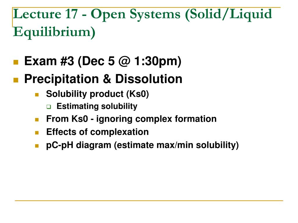 lecture 17 open systems solid liquid equilibrium l.