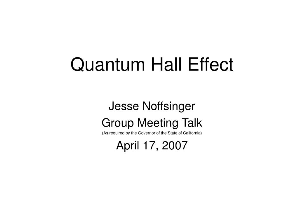 quantum hall effect l.