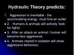 hydraulic theory predicts