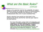 what are the basic rules continued