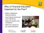 why is financial education important for the poor