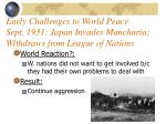 early challenges to world peace sept 1931 japan invades manchuria withdraws from league of nations