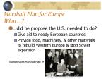marshall plan for europe what