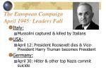 the european campaign april 1945 leaders fall