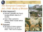 the european campaign july 1940 battle of britain