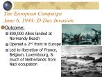 the european campaign june 6 1944 d day invasion
