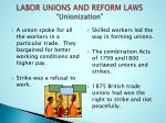 labor unions and reform laws unionization