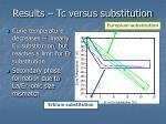 results tc versus substitution