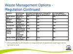 waste management options regulation continued22