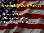 exemplify core values